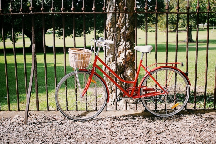 Red Bike on Railings